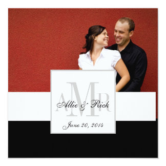 Bride and Groom Photo Monogram Wedding Invitation