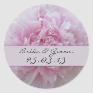 Bride and Groom Pink Peonies wedding stickers
