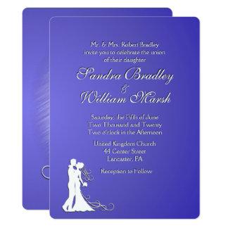 Bride and Groom Purple Lotus Wedding Card