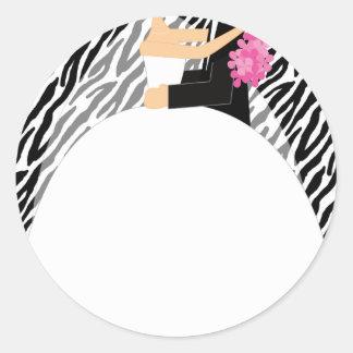 Bride and Groom Round Sticker