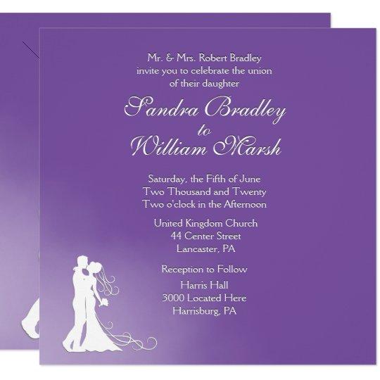 Bride and Groom Royal Purple Wedding Invitation