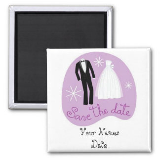 Bride and Groom Save the Date Square Magnet