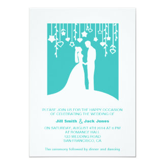 Bride and Groom Silhouette Aqua Modern Wedding 13 Cm X 18 Cm Invitation Card