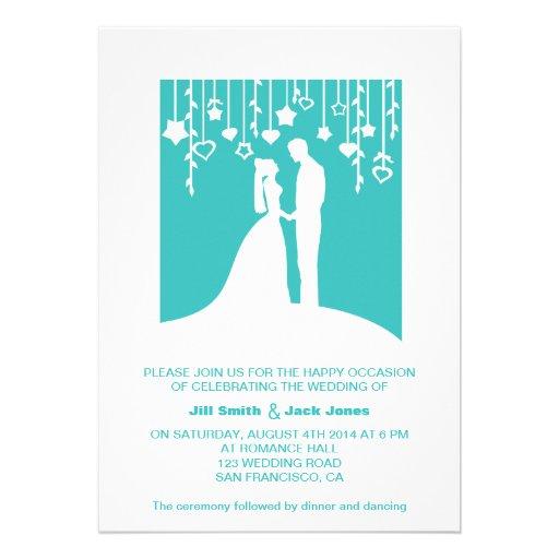 Bride and Groom Silhouette Aqua Modern Wedding Custom Invitations
