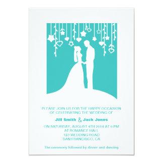 "Bride and Groom Silhouette Aqua Modern Wedding 5"" X 7"" Invitation Card"