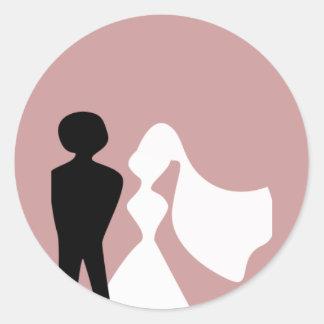 Bride and Groom Silhouette Envelope Seals Round Sticker