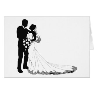 Bride and groom silhouette greeting card