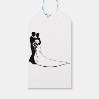 Bride and Groom Silhouette Wedding Concept Gift Tags