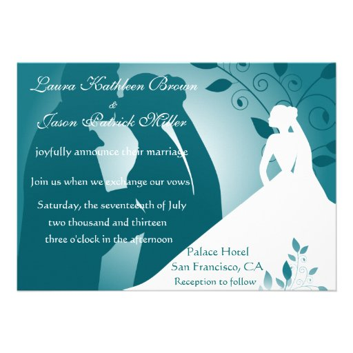 Bride and Groom Silhouette Wedding Invitation