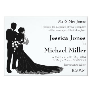 Bride and groom silhouette wedding invitations 13 cm x 18 cm invitation card