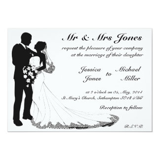 Bride and groom silhouette wedding invitations
