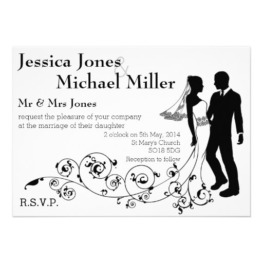Bride and groom silhouette wedding invitations
