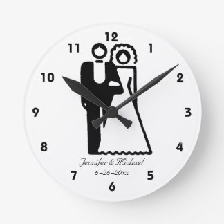 Bride And Groom Silhouettes Wedding Clock