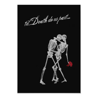 Bride and Groom Skeletons Goth Wedding Card