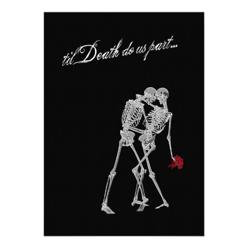 Bride and Groom Skeletons Goth Wedding Custom Announcement