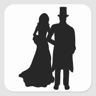 Bride and Groom Square Sticker