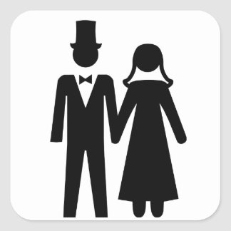 Bride and Groom Square Sticker