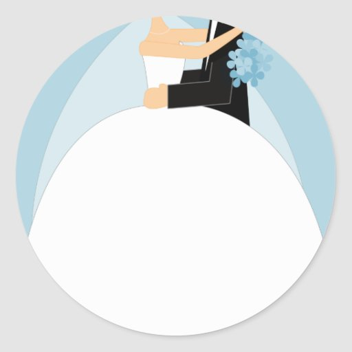 Bride and Groom Round Stickers