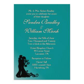 Bride and Groom Teal 17 Cm X 22 Cm Invitation Card