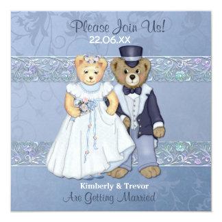 Bride and Groom Teddy Bear Wedding 13 Cm X 13 Cm Square Invitation Card