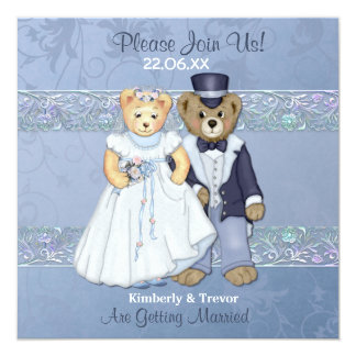 Bride and Groom Teddy Bear Wedding Card