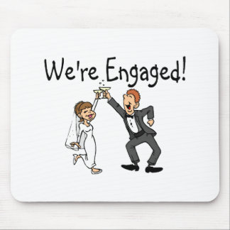 Bride and Groom We re Engaged Toast Mousepad