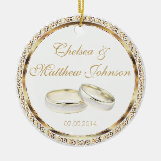 Bride and Groom Wedding Bands Keepsake Round Ceramic Decoration