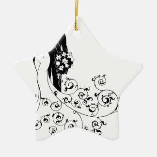 Bride and Groom Wedding Bridal Dress Silhouette Christmas Ornament