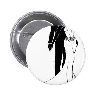 Bride and Groom Wedding Couple Silhouette 6 Cm Round Badge