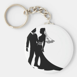 Bride and groom wedding couple silhouette keychain