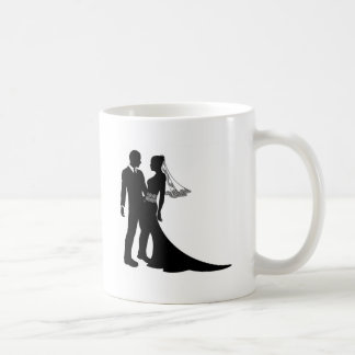 Bride and groom wedding couple silhouette coffee mugs