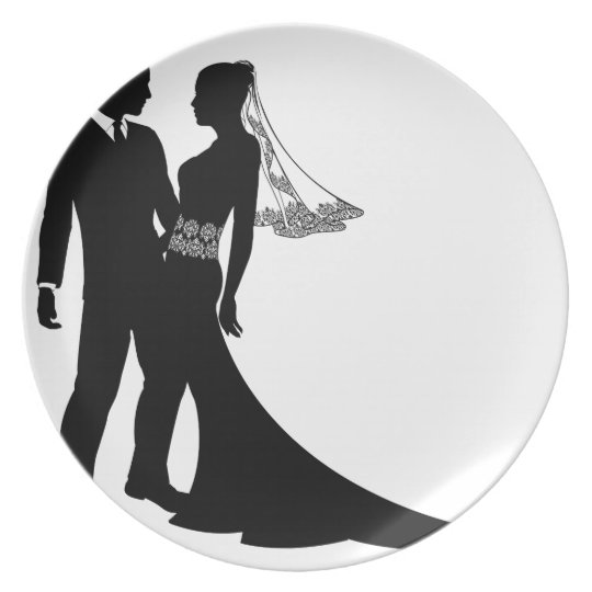 Bride and groom wedding couple silhouette plate