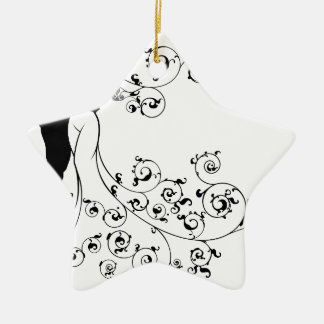 Bride and Groom Wedding Couple Silhouettes Christmas Ornament