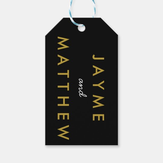 Bride and Groom Wedding Date Gift Tag Black