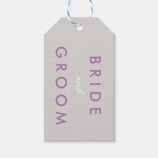Bride and Groom Wedding Date Gift Tag Purple Gray