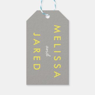 Bride and Groom Wedding Date Gift Tag Yellow Grey