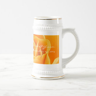 Bride and Groom Wedding Date Stein Orange Roses