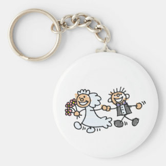 Bride And Groom Wedding Elope Elopement Basic Round Button Key Ring