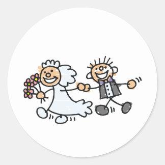 Bride And Groom Wedding Elope Elopement Round Sticker