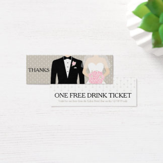 Bride and groom wedding free drink voucher card