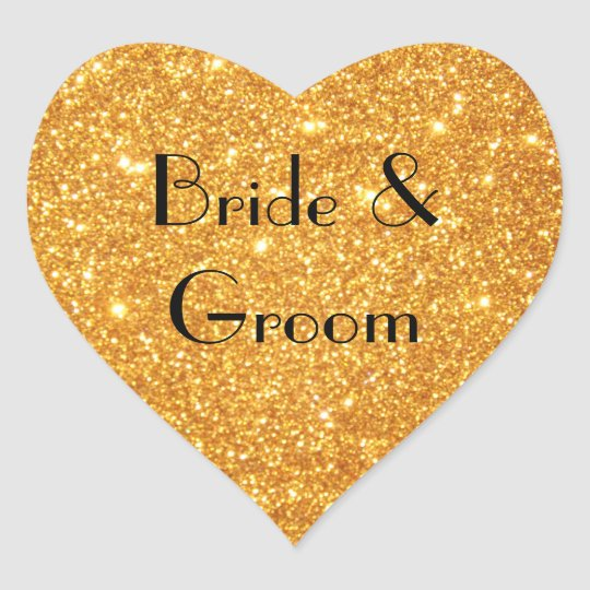 Bride and Groom Wedding Gold Glitter Photo Heart