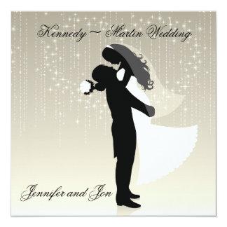 """Bride and Groom Wedding Invitation 5.25"""" Square Invitation Card"""