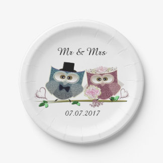Bride and Groom Wedding Paper Plates
