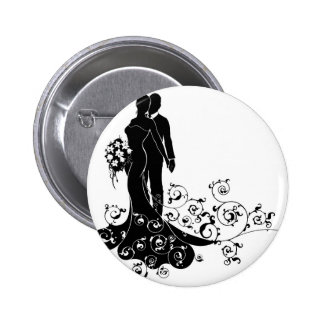 Bride and Groom Wedding Pattern Dress Silhouette 6 Cm Round Badge