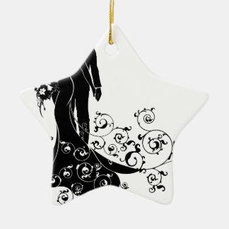 Bride and Groom Wedding Pattern Dress Silhouette Ceramic Star Decoration