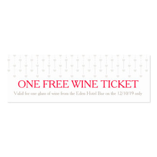 Bride and groom wedding red free wine voucher card business cards