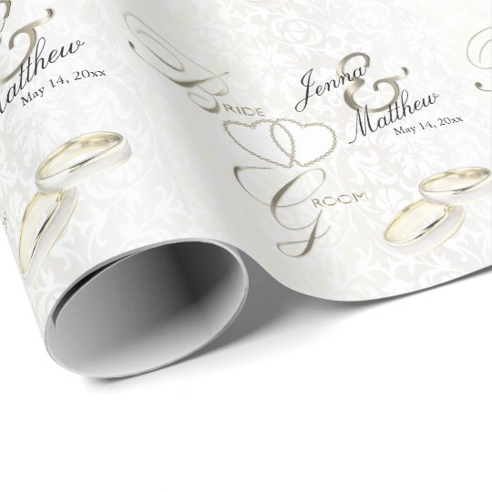Bride and Groom Wedding Ring Design Wrapping Paper