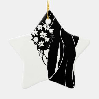 Bride and Groom Wedding Silhouette Ceramic Star Decoration