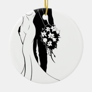 Bride and Groom Wedding Silhouette Couple Round Ceramic Decoration
