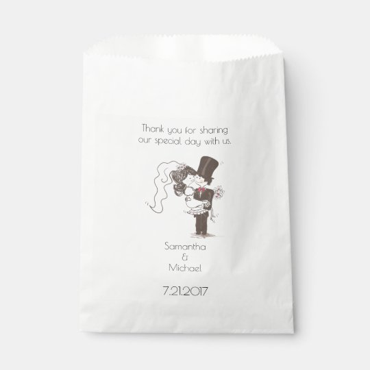 Bride and Groom White Favour Bag Favour Bags